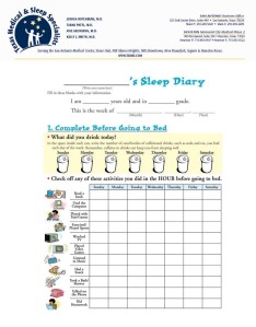sleep diary page 1